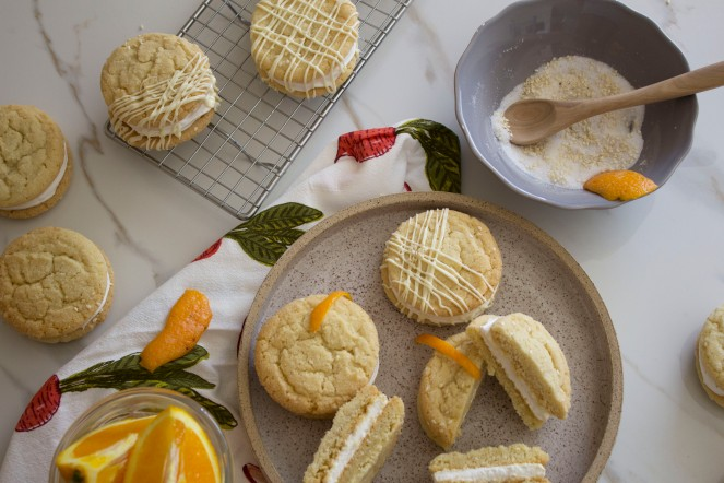 SESAME SEEDS + ORANGE MARSHMALLOW COOKIE SANDWICHES 45