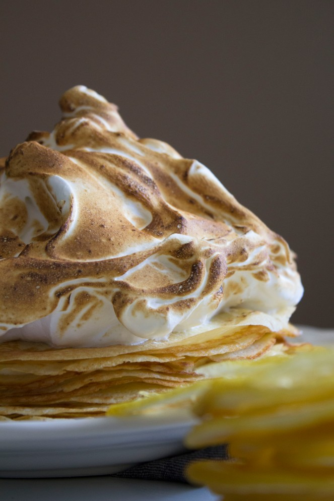 LEMON MOUSSE MERINGUE CREPE CAKE || NFS
